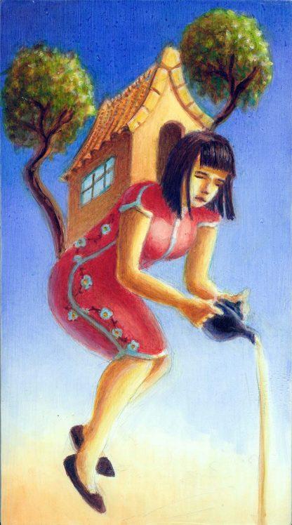 Teahouse Girl oil on wood 10x6 2015