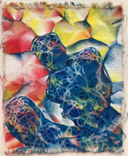 Blue Crinkle Figure acrylic on canvas 9x7 2019