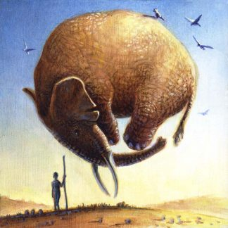 """Elephant Ball"" oil on pine 5 3/4"" x 5 3/4"" 2005"