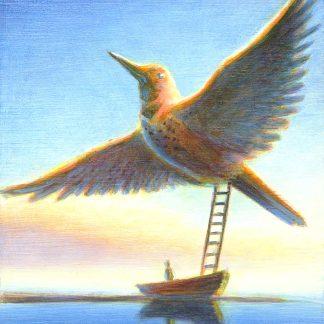 """""""Bird Ladder"""" 5"""" X 4.75"""" oil on pine 2004"""