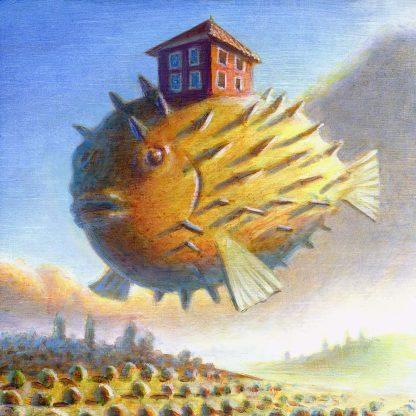 """Pufferfish House"" 5.5"" X 5.75"" oil on pine 2004"