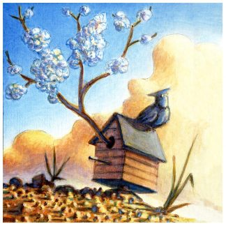 """Sprouting Birdhouse"" 5 1/2"" X 5 1/4"" oil on pine 2007"