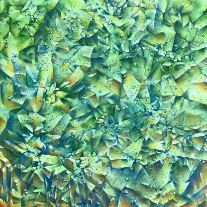 green Crinkle Covid acrylic on canvas 24x24 2020