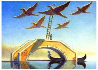 """Flock Ladder"" oil on pine 5 3/5"" x 7 1/4"" 2005"