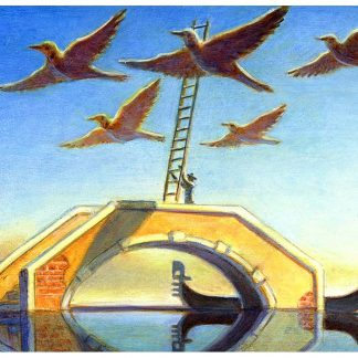 """Flock Ladder"" oil on pine 5 3/5"" x 7 1/4"" 2005"