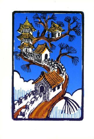 Pagoda Branch - Color woodcut print 8.75x5.75 (image area) 2010