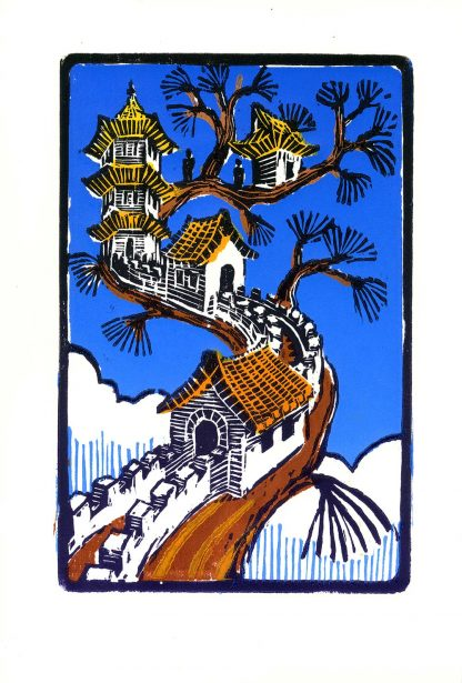 Pagoda Branch - Color woodcut print 8.75x5.75 (image area) 2010