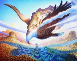 Phoenix Eagle acrylic & oil on canvas 2016 48″ x 60″