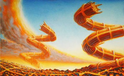 """Coils 36"""" X 48"""" oil on canvas left handed painting 2010"""