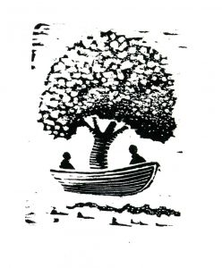 Tree Boar for two woodcut print 4x3 (image area) 2009