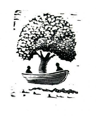 Tree Boat for two woodcut print 4x3 (image area) 2009