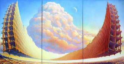 "U Tower (triptych) 48"" X 108"" oil on canvas left hand painting 2010"