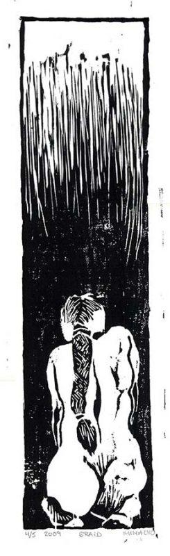 Braid - woodcut, ink on paper, 20.5x5.5, 1987
