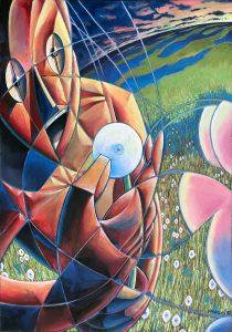 "Dandelion, 34"" X 48"", oil on canvas, 1993"