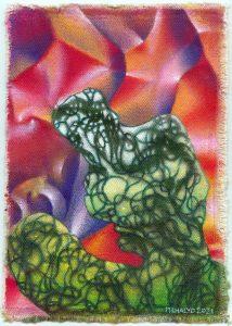 Gree Vine Figure, acrylic on canvas, 9x6.5, 2021