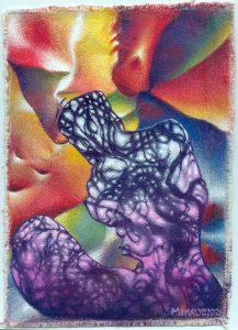 Purple Smoke Figure, acrylic on canvas, 9x6.5, 2021