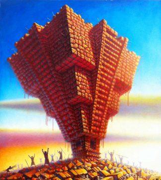 """Pyramid, oil on canvas, 75.5″ X 65"""", 2013"""