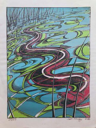 Rain Snake, silkscreen on paper, 23x17.5, 1992