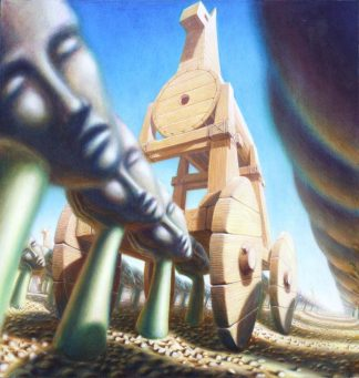 """Trojans at the Harvest, 50"""" X 48"""", oil on canvas, 2001"""