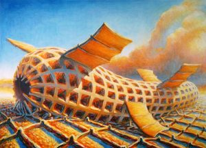 """Zepland, 36"""" X 48"""", oil on canvas, left handed painting, 2010"""