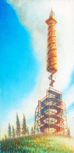Column Launch, acrylic on wood, 9.5x4.75, 2015