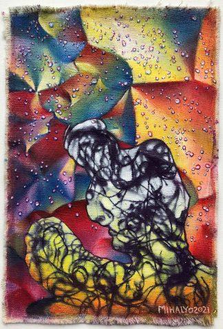 Electric Crinkle Dot Figure, acrylic on canvas, 11x7.5, 2021