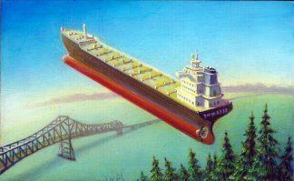 Megler Bridge and Ship, acrylic on wood, 6x9.75, 2016