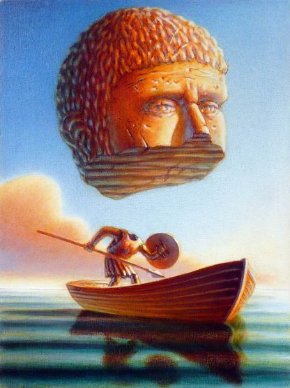 """""""Stone Head Soldier Boat"""" oil on canvas , 16"""" X 12"""", 2009"""