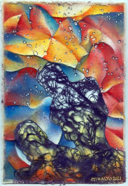 Electric Crinkle Dot Figure 2 acrylic on canvas 11x7.5 2021