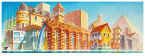 A Brief History of Architecture, acrylic on canvas, 13x34, 2021