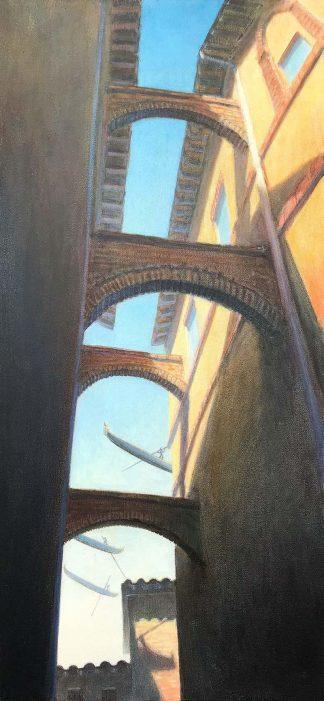 """Veneto Alley"" oil on canvas 30"" X 14"" 2005"